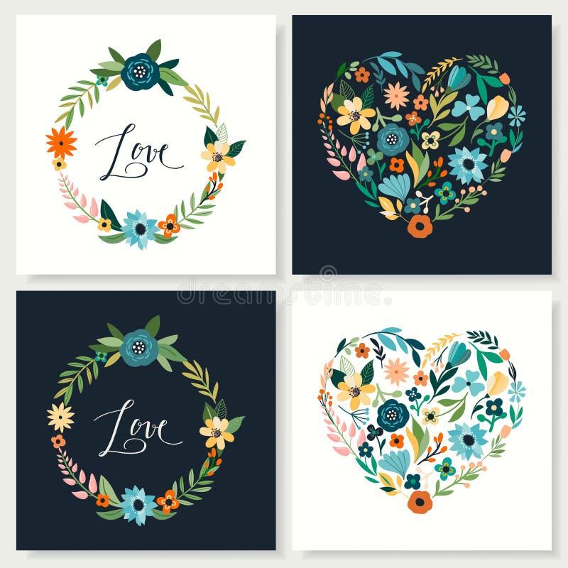 De inzameling van liefdekaarten met hand getrokken bloemenharten en kronen stock illustratie