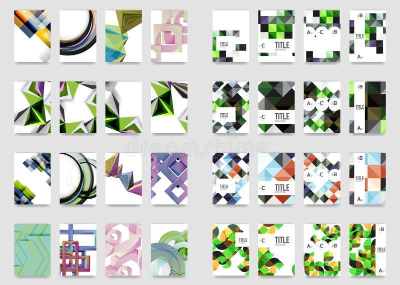 De inzameling van de malplaatjes van de bedrijfs jaarverslagbrochure, A4 groottedekking leidde tot met geometrische moderne patro royalty-vrije illustratie