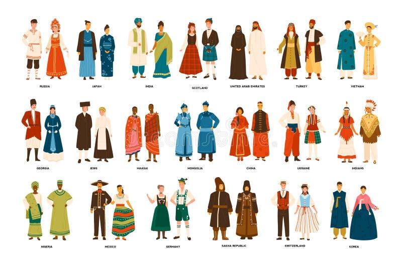 De inzameling van mannen en vrouwen kleedde zich in volkskostuums van diverse die landen op witte achtergrond worden geïsoleerd R royalty-vrije illustratie