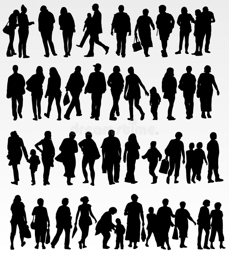 De inzameling van mensensilhouetten vector illustratie