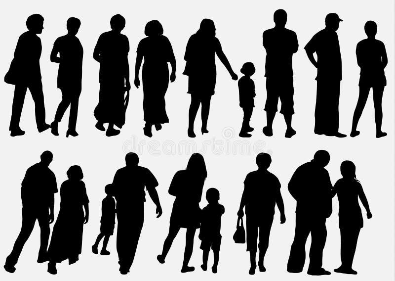 De inzameling van mensensilhouetten stock illustratie