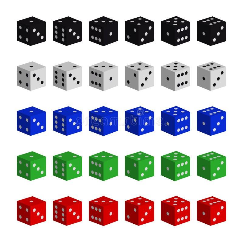 De inzameling van multicolored dobbelt vector illustratie