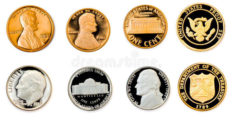 De inzameling van muntstukken stock afbeeldingen
