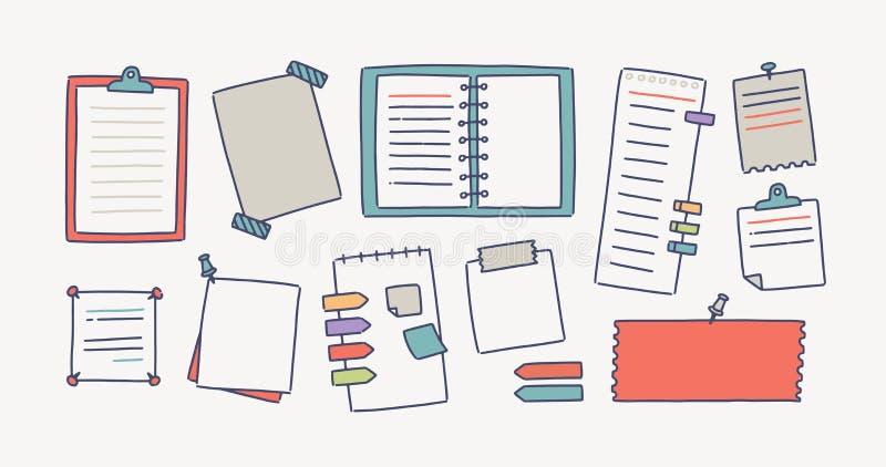 De inzameling van notitieboekjes en het document maakten met punaisen en plakband voor het maken van het schrijven nota's vast op vector illustratie