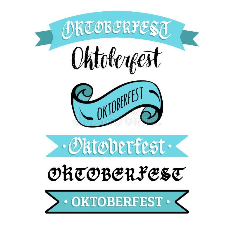 De inzameling van Oktoberfestlinten voor de vlieger en de affiche van het bierfestival Vectorhand geschreven die kalligrafie voor royalty-vrije illustratie