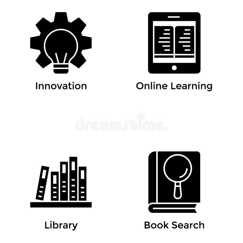 De inzameling van onderwijspictogrammen stock illustratie