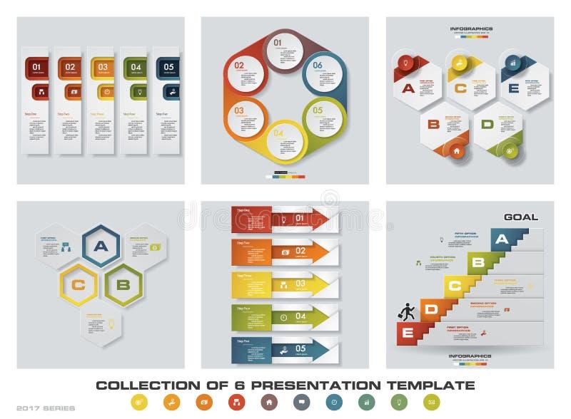De inzameling van 6 ontwerpt kleurrijke presentatiemalplaatjes EPS10 Reeks de vector en van het bedrijfs infographicsontwerp pict stock illustratie