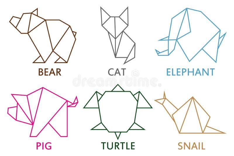 De inzameling van origamidieren Reeks van lijn geometrische vorm voor kunst van gevouwen document Malplaatje voor embleem Vector  vector illustratie
