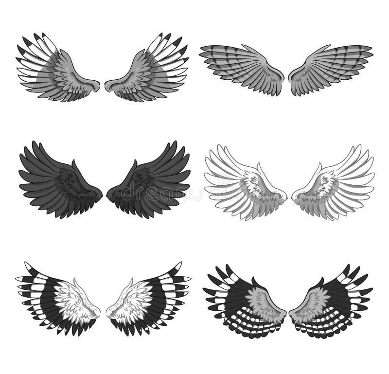 De inzameling van 6 paren van elegante die vogel of de engel spreidt vleugels uit op witte achtergrond worden geïsoleerd Symbool  stock illustratie
