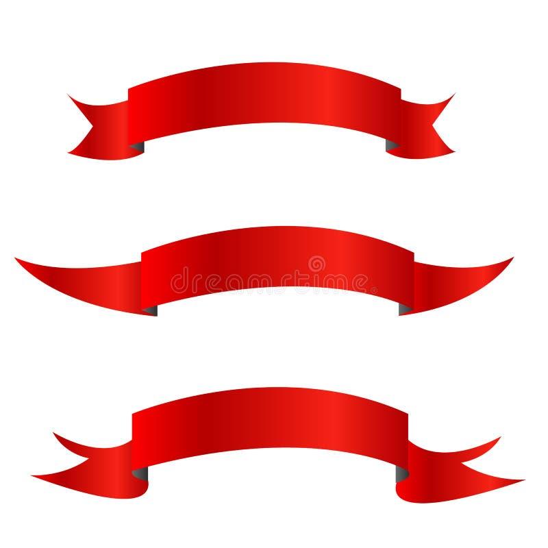 De inzameling van Rode linten horizontale banners isoleerde vlak vectorillustratieontwerp royalty-vrije illustratie