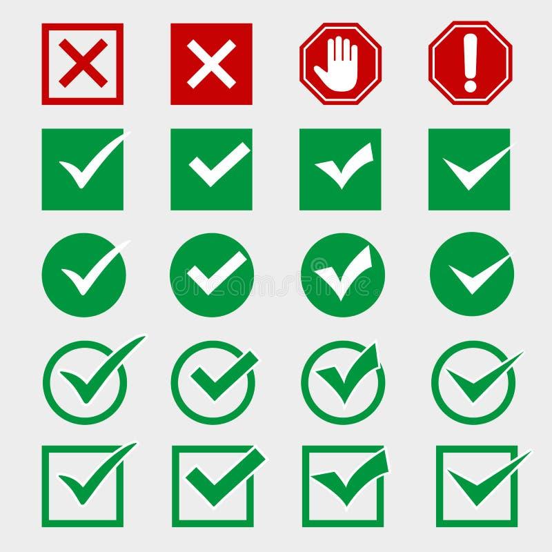 De inzameling van rood kruis en groen vinkje, pictogrammen plaatste, geïsoleerd op grijze achtergrond stock illustratie