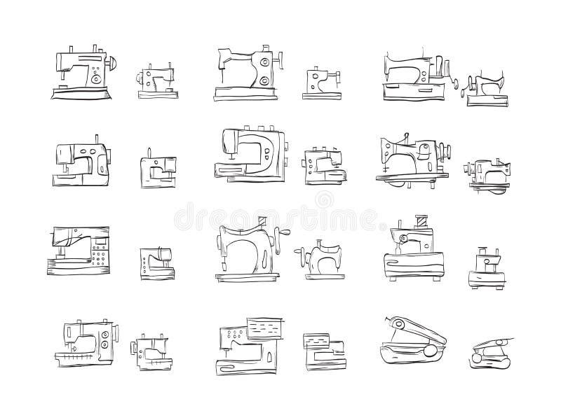 De inzameling van schetspictogrammen voor naaimachine stock illustratie