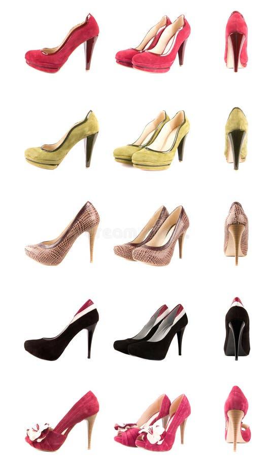 De inzameling van schoenen stock afbeelding