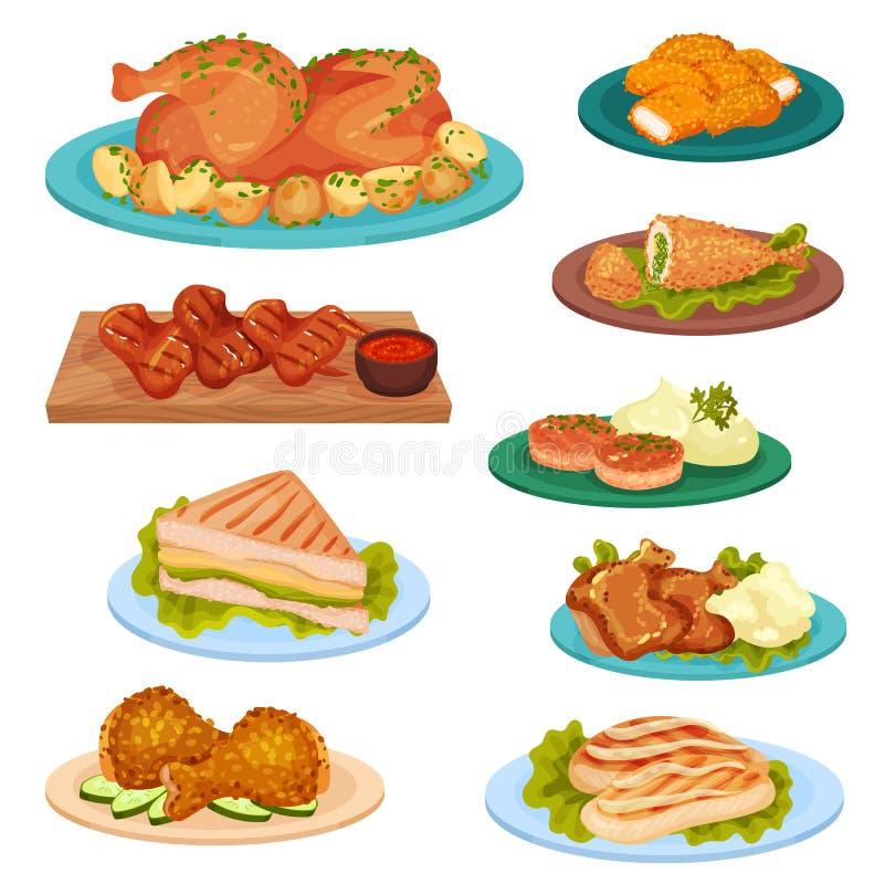 De inzameling van smakelijke gevogelteschotels, gebraden kippenvlees, koteletten, sandwich diende op platen vectorillustratie op  royalty-vrije illustratie