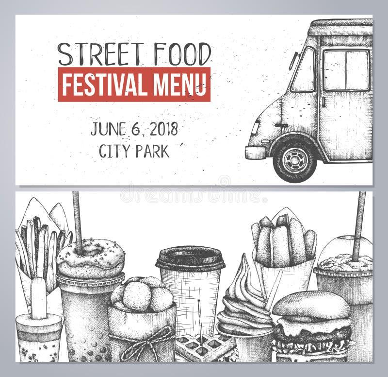 De inzameling van de snel voedselschets voor koffie of restaurantontwerp Het gegraveerde malplaatje van het stijlboekje Het festi vector illustratie