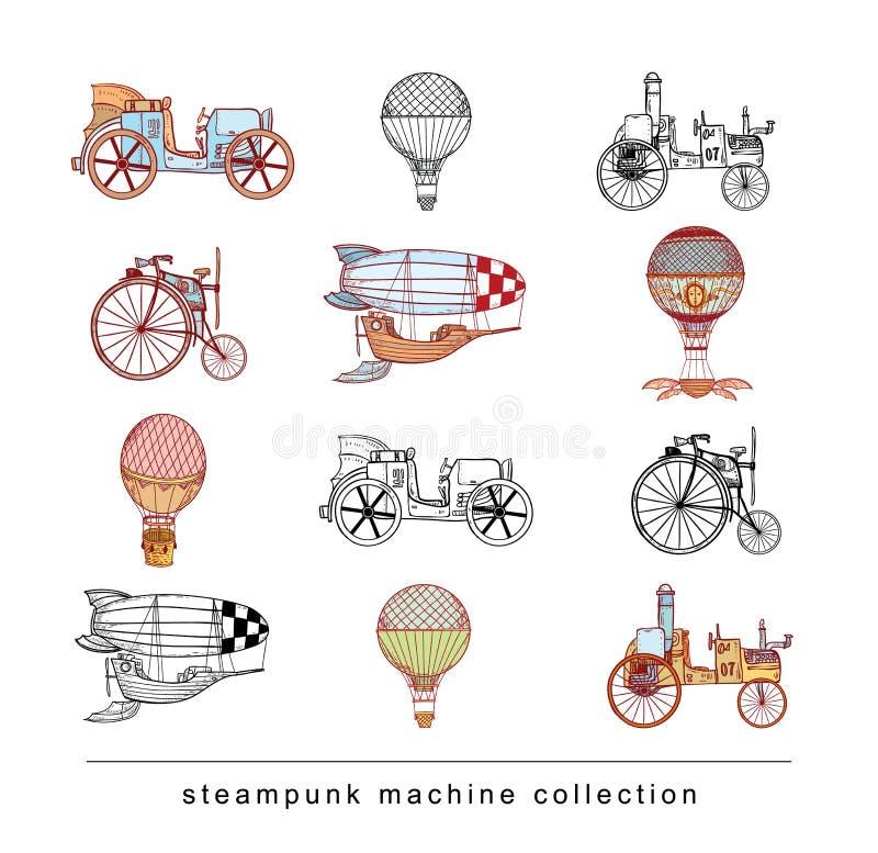 De inzameling van Steampunkmachines, hand getrokken vectorillustratie royalty-vrije illustratie