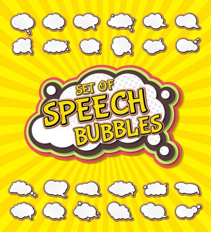 De inzameling van toespraakbellen in pop-artstijl Elementen van ontwerp grappige boeken Reeks multilayer gedachten of communicati royalty-vrije illustratie