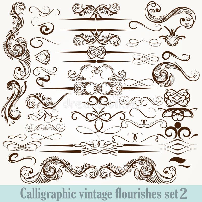 De inzameling van vector kalligrafische decoratief bloeit in vinta vector illustratie