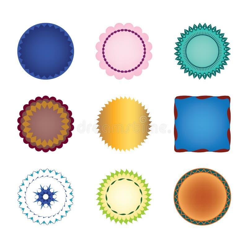 De inzameling van vectorvormen etiketteert stickers of zegels met kantgrenzen, gegratineerde randen, gouden glanzende verbinding royalty-vrije illustratie