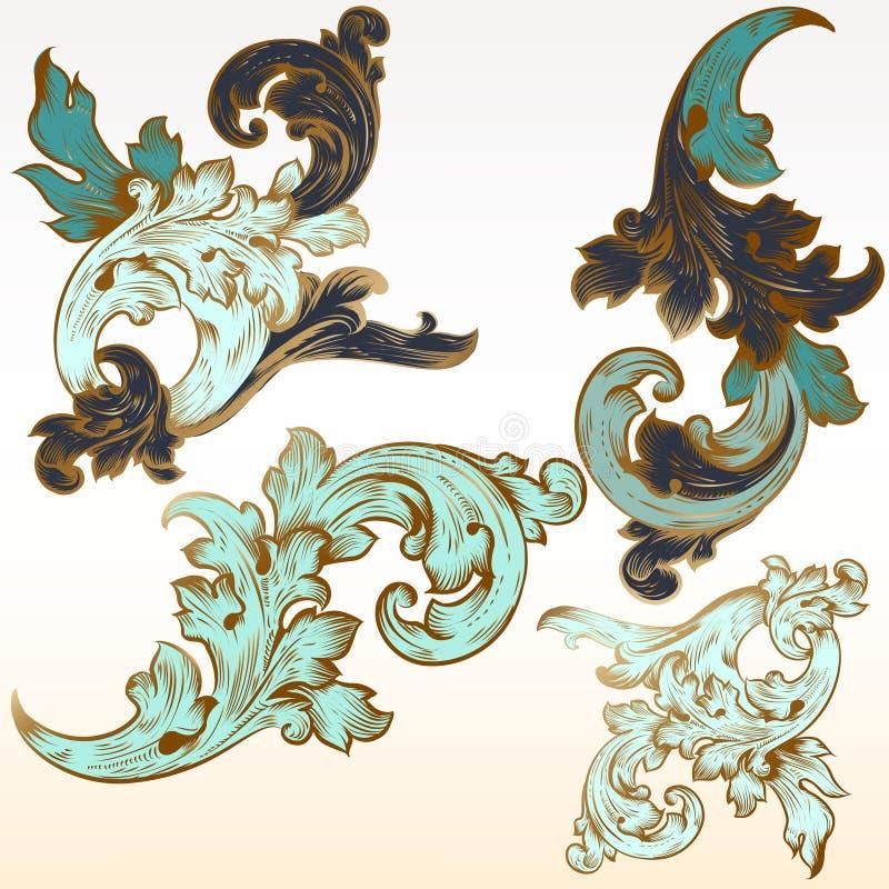 De inzameling van vectorwijnoogst bloeit voor ontwerp stock illustratie