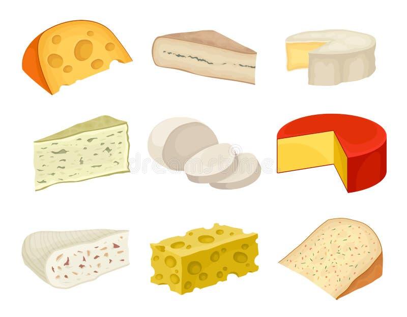 De inzameling van de verscheidenhedenkaas op een witte achtergrond vector illustratie