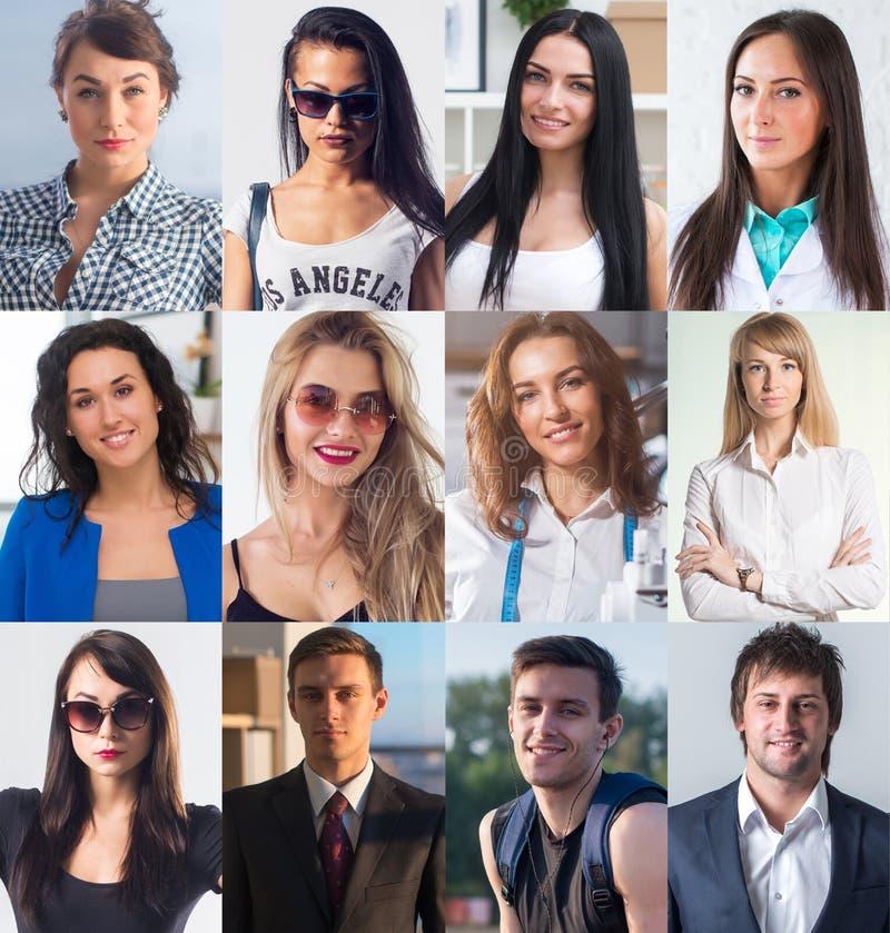De inzameling van verschillend vele gelukkige glimlachende jongeren ziet Kaukasische vrouwen en mannen onder ogen Conceptenzaken, royalty-vrije stock afbeeldingen