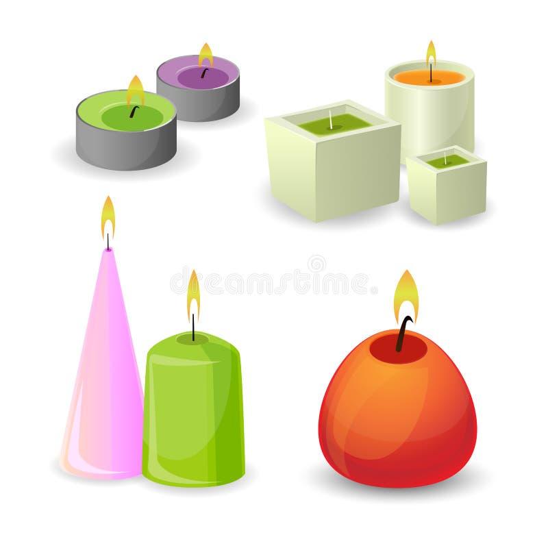De inzameling van verschillende aromakaarsen voor ontspant Weinig ontspanningsvlam vector illustratie
