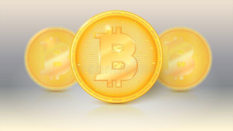 De inzameling van virtuele munt Bitcoin met zonglans en bezinningen Pictogram, gouden geld van bitcoin met onduidelijk beeld en vector illustratie