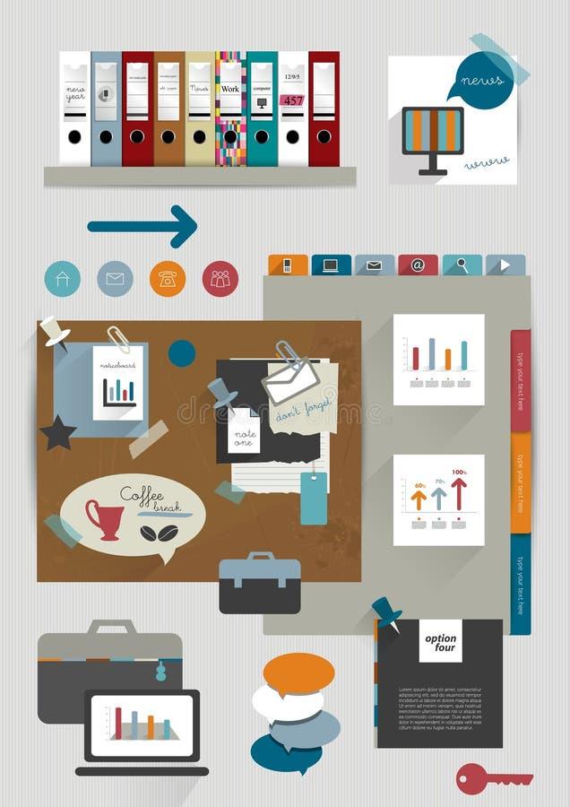 De inzameling van vlakke kleurrijke document stickers, omslagen, post-it, bellen plaatste, pictogrammen royalty-vrije illustratie