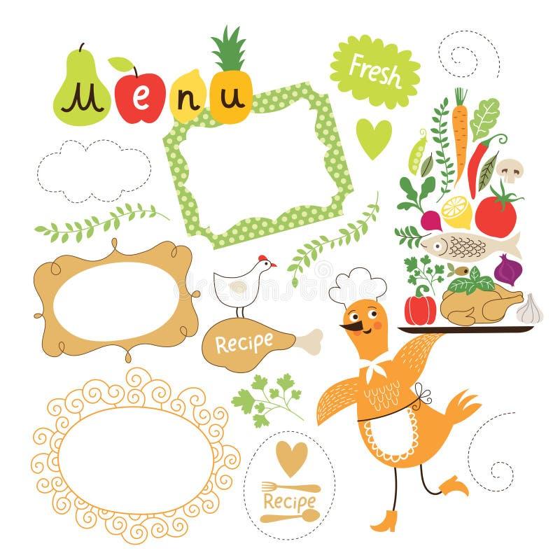 De inzameling van voedselillustraties royalty-vrije illustratie