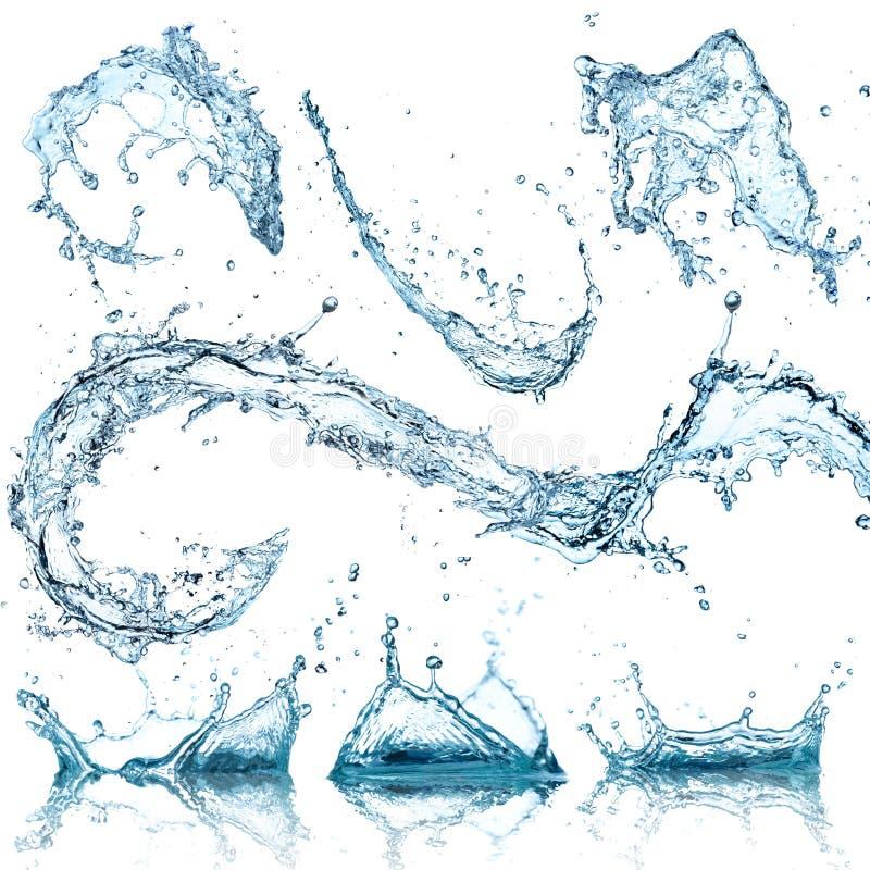 De inzameling van waterplonsen stock foto's