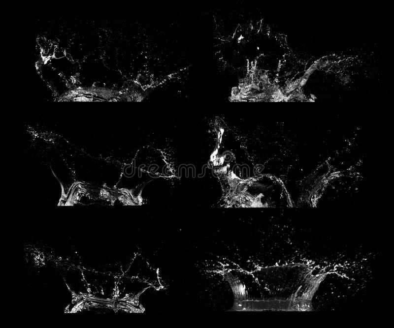 De inzameling van waterplonsen die op zwarte achtergrond wordt ge?soleerd royalty-vrije stock afbeeldingen