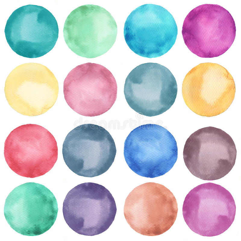 De inzameling van waterverfcirkels in pastelkleuren vector illustratie