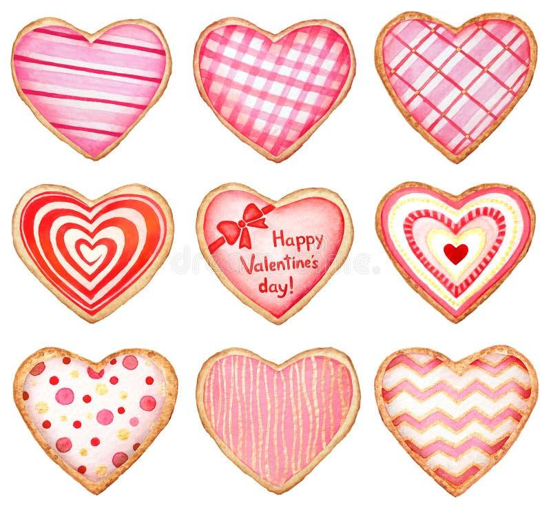De inzameling van waterverfhart vormde koekjes en suikergoed met glans op witte achtergrond voor de dagontwerpen dat van Valentin royalty-vrije illustratie
