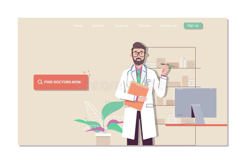 De inzameling van webpaginamalplaatjes van het vinden van de dichtste arts, het ziekenhuis, en de apotheek vector illustratie