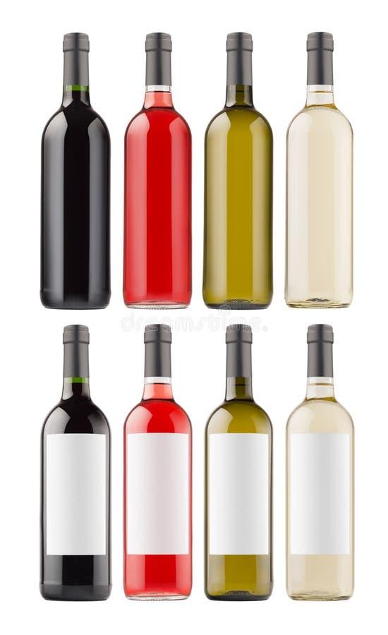 De inzameling van wijnflessen met leeg wit etiket en zonder omhoog geïsoleerd etiket, spot royalty-vrije stock afbeeldingen