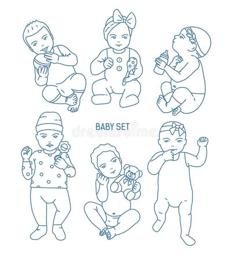 De inzameling van zuigelingskinderen of babys kleedde zich in divers kleren en holdingsspeelgoed en rammelaars Reeks peuters binn royalty-vrije illustratie