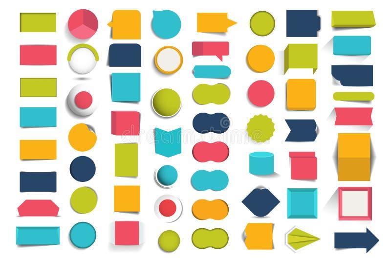 De inzamelingen van infographics ontwerpen knopen, elementen royalty-vrije illustratie