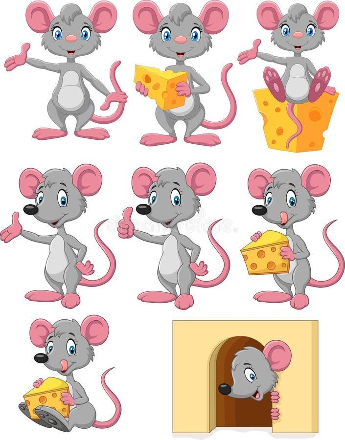 De inzamelingsreeks van de beeldverhaal grappige muis royalty-vrije illustratie