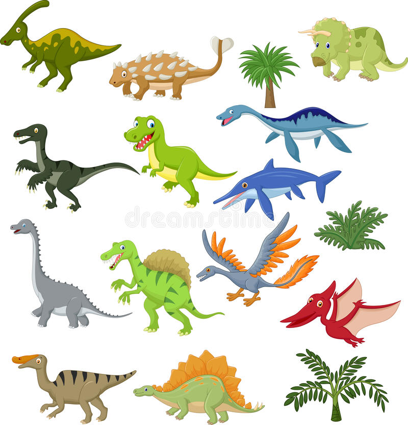 De inzamelingsreeks van het dinosaurusbeeldverhaal vector illustratie