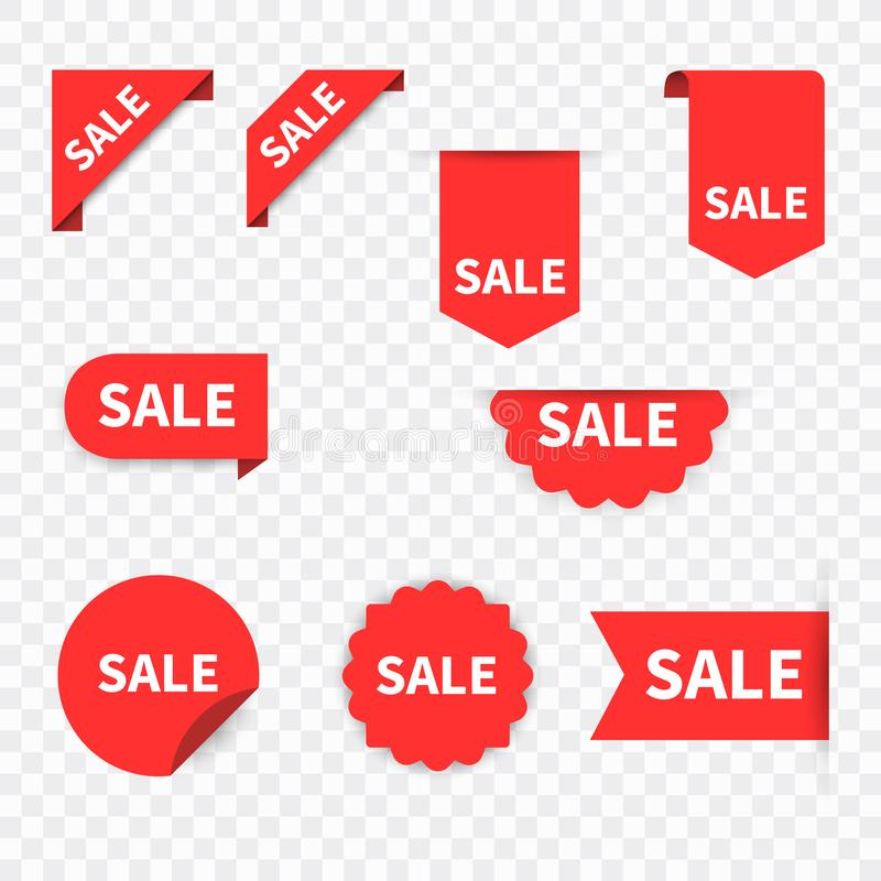 De inzamelingsreeks van het verkoopetiket De markeringen van de verkoop Kortings rode linten, banners en pictogrammen Het winkele royalty-vrije illustratie