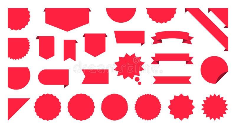 De inzamelingsreeks van het verkoopetiket De markeringen van de verkoop Kortings rode linten, banners en pictogrammen Het winkele vector illustratie