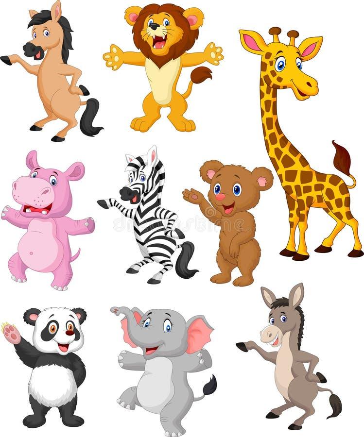 De inzamelingsreeks van het wilde dierenbeeldverhaal vector illustratie