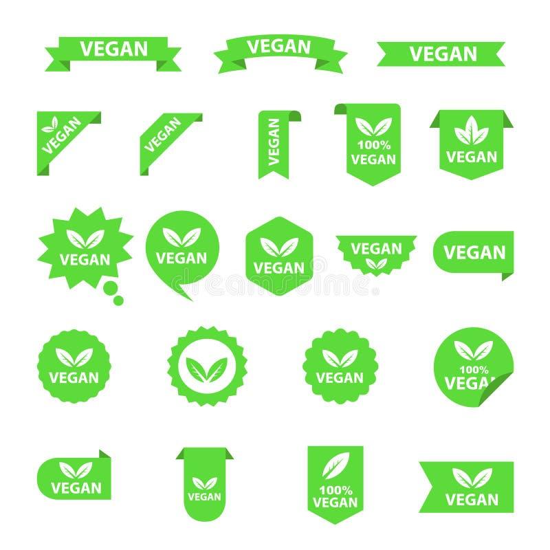 De inzamelingsreeks van veganistemblemen, organische bioemblemen of tekens Ruwe, gezonde die voedselkentekens, markeringen voor k stock illustratie