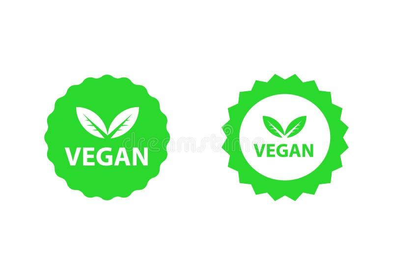 De inzamelingsreeks van veganistemblemen, organische bioemblemen of tekens Ruwe, gezonde die voedselkentekens, markeringen voor k royalty-vrije illustratie