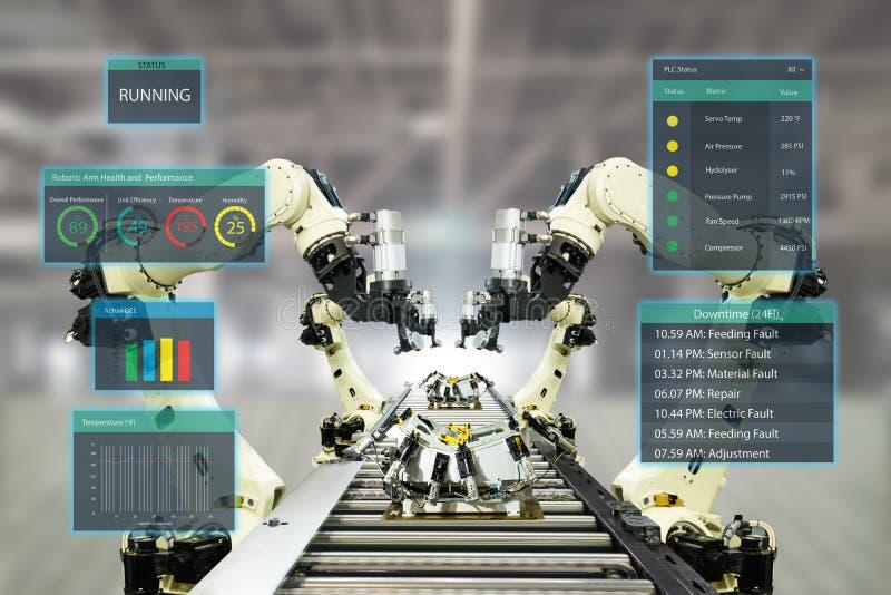 De Iotindustrie 4 0 Concept Slimme fabriek die automatiserings robotachtige wapens met vergrote gemengde virtuele werkelijkheidst stock afbeelding