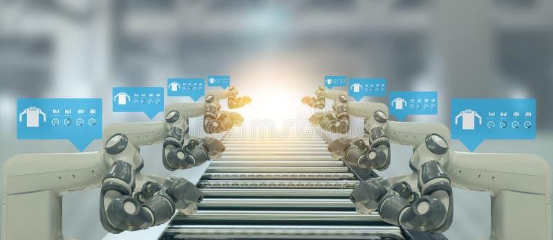De Iotindustrie 4 0 Concept Slimme fabriek die automatiserings robotachtige wapens met vergrote gemengde virtuele werkelijkheidst royalty-vrije illustratie