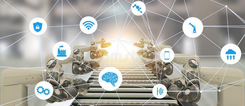 De Iotindustrie 4 0 het concept van de kunstmatige intelligentietechnologie Slimme fabriek die het neigen automatiserings robotac stock foto