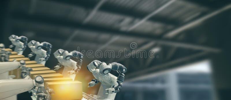 De Iotindustrie 4 0 technologieconcept Slimme fabriek die neigende automatiserings robotachtige wapens met deel op transportband  royalty-vrije stock afbeelding