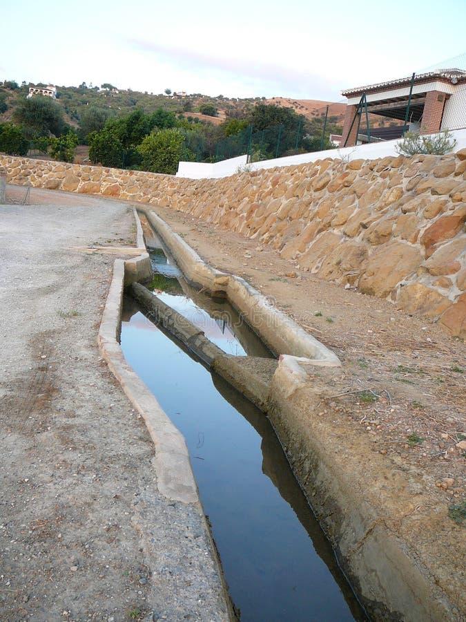 De irrigatiekanaal van het wegniveau royalty-vrije stock afbeeldingen